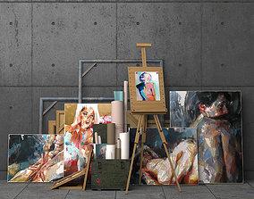 3D asset A set of decorative elements with