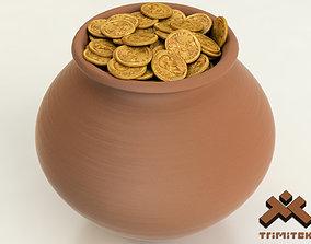 3D Pot of Gold Coins