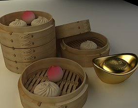 Chinese bamboo steamer with buns and yuanbaos 3D