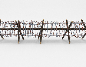 Low Poly Barb Wire Obstacle 3D asset