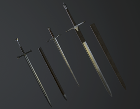 Medieval swords 3D asset game-ready
