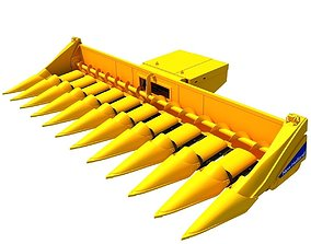 3D Yellow Combine Threshing 2 agriculture