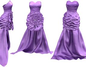 Flower Front Gown Dress 3D asset realtime
