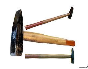 Hammer 3D asset game-ready hammer anvil