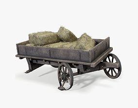 Broken cart with haystacks 3D asset