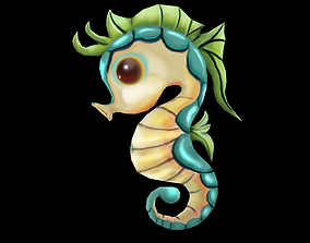 creature 3D model animated low-poly seahorse