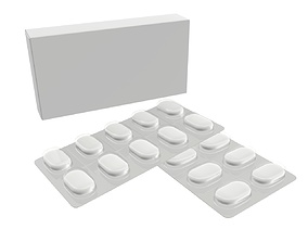 3D model Pills with paper box package 03