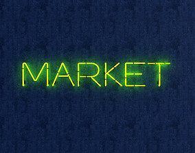 Market Neon Sign 3D asset