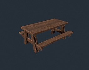 Picnic Table - Picnic Bench - Wooden Table - 3D asset 1