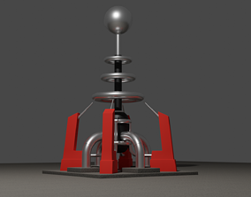 3D model Tesla coil turret