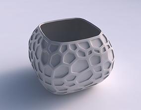 Bowl semi-quadratic with organic dents 3D print model