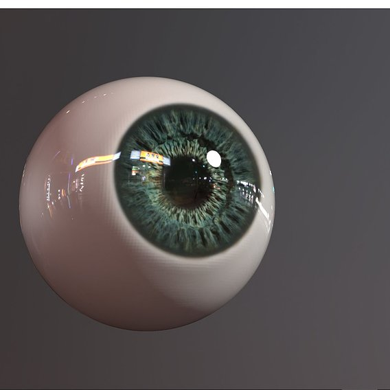 green eye photorealistic lowpoly pbr