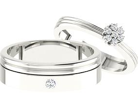 diamond 3D print model Couple Band Ring