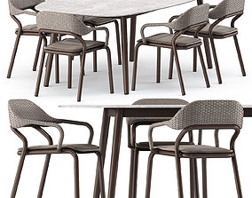 3D NOSS Armchair and ELLISSE table by varaschin