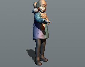 3D printable model Little girl in a jacket