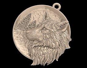 3D print model Wolf pendant medallion jewerly