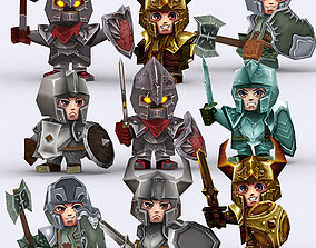 animated low-poly 3DRT - Chibii Realm Characters