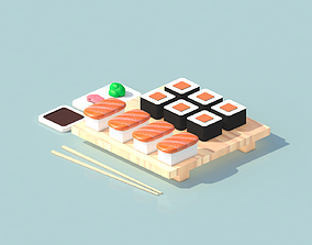 VR / AR ready Sushi pack 3d lowpoly isometric