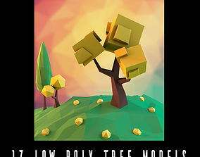 Low poly tree pack 3D asset