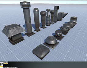 3D asset Roof Elements Set 1