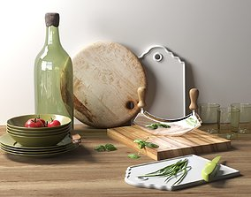 3D Kitchenware with Vegetables