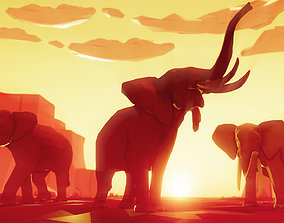 3D asset Poly Art Elephants