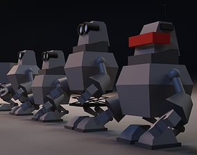 3D low-poly Cartoon Robots Low Poly Pack