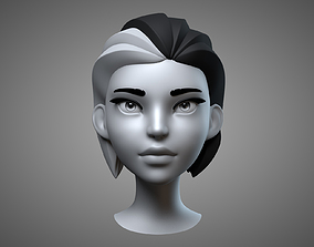 Cartoon Female Head 3D model