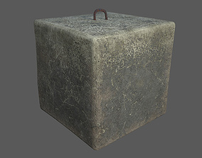 Concrete block 1x1x1 meter 3D model game-ready