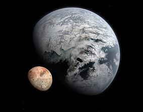 Ice Planet with Moon - Alien Planet 8k 3D model