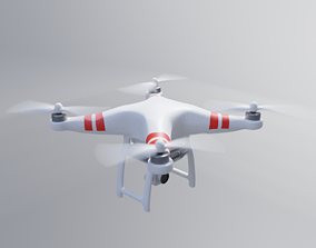 Semi Realistic Low poly White Drone 3D asset