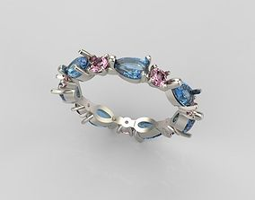 Ring design with gems 3D printable model