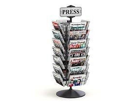 Magazine Carousel Rack - Model 04 3D