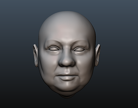 Male head 11 - fat face 3D printable model