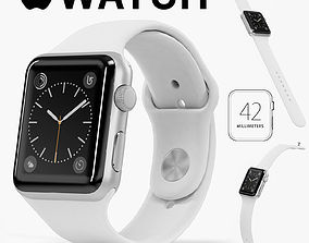 Apple Watch Silver Aluminum Case White Sport Band 3D model