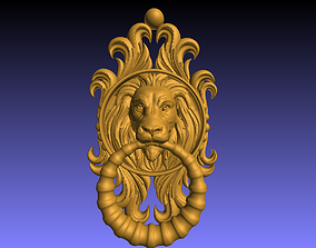 lion face door knocker 3D printable model