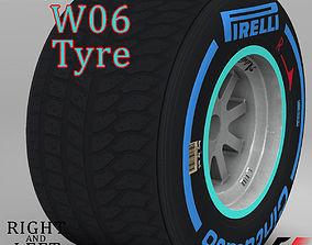 W06 Wet rear tyre 3D asset