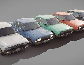 Lowpoly 1960s Vintage Coupe Car Collection 3D asset