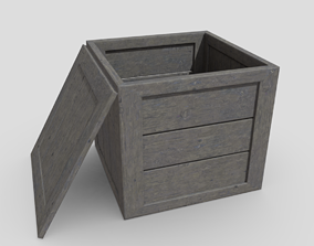 Wooden Box 3D model game-ready PBR plank