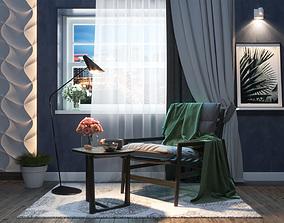 Studio apartment interior scene 3D model