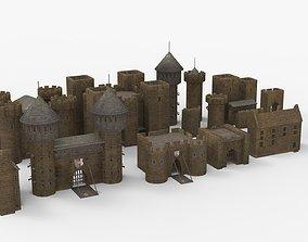medieval castle constructor prop set 3D asset realtime