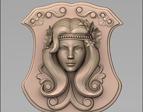 3D printable model Woman head bas relief