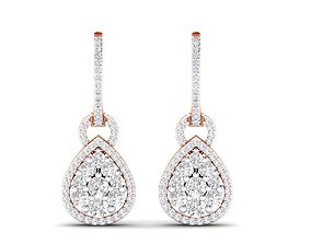 Women Earrings 3dm stl render detail jewellery solitaire