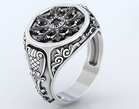 Ring with old-fashioned patterns 374 3D print model