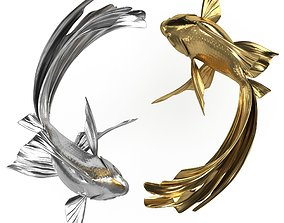Yin Yang Fish Gold Silver 3D model