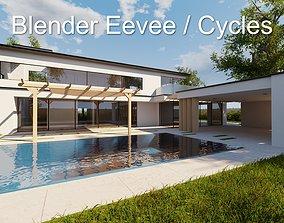 Modern villa 2021 Blender Eevee and Cycles 1 3D model 2