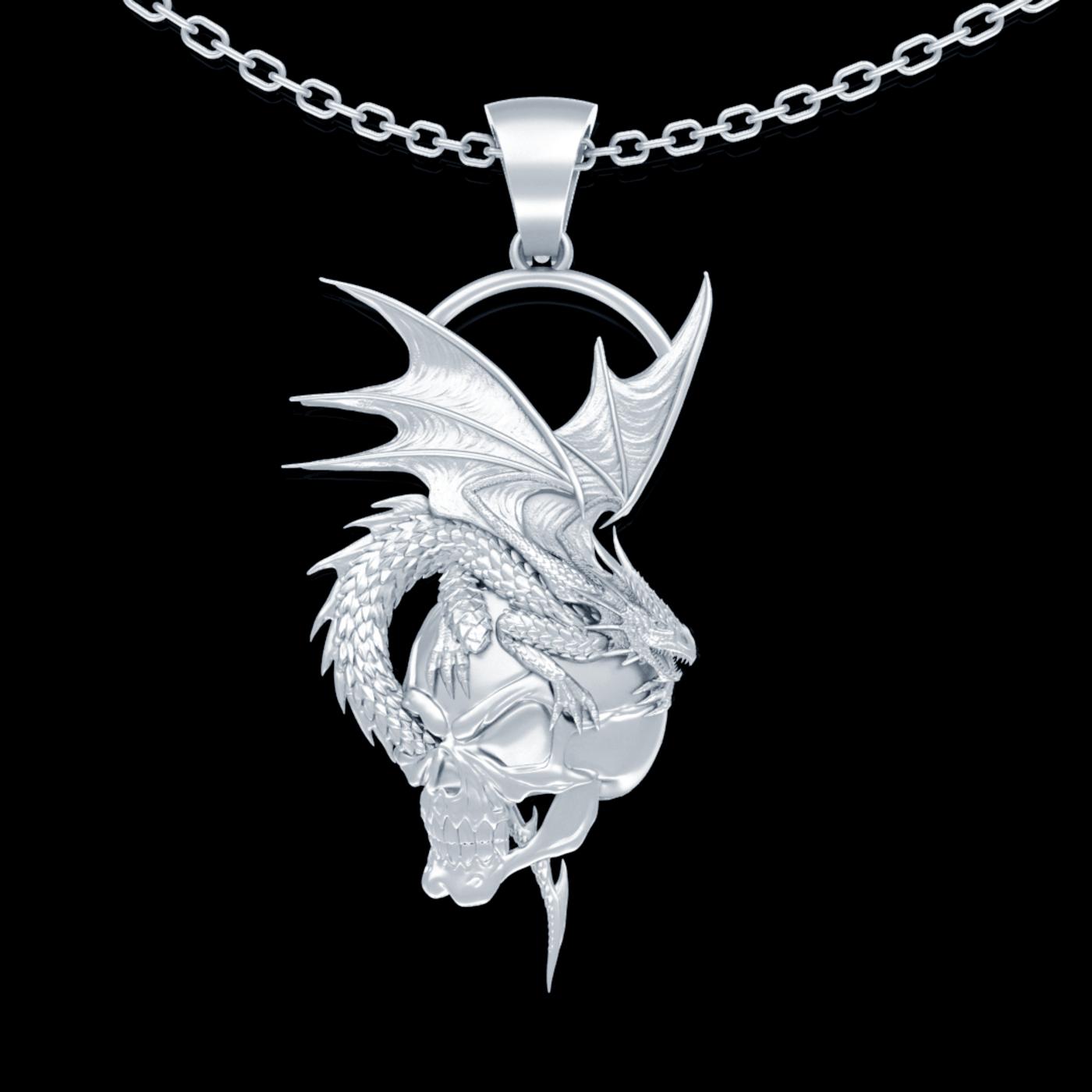 Skulls and Dragons Pendant jewelry Gold 3D print model