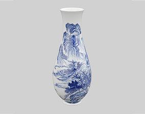 Chinese Porcelain Blue and White Landscape Vase 3D model