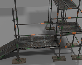 3D model Modular Low poly Scaffold