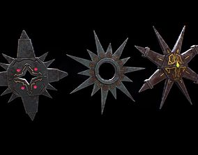 VR / AR ready Low poly fantasy shuriken weapon assets